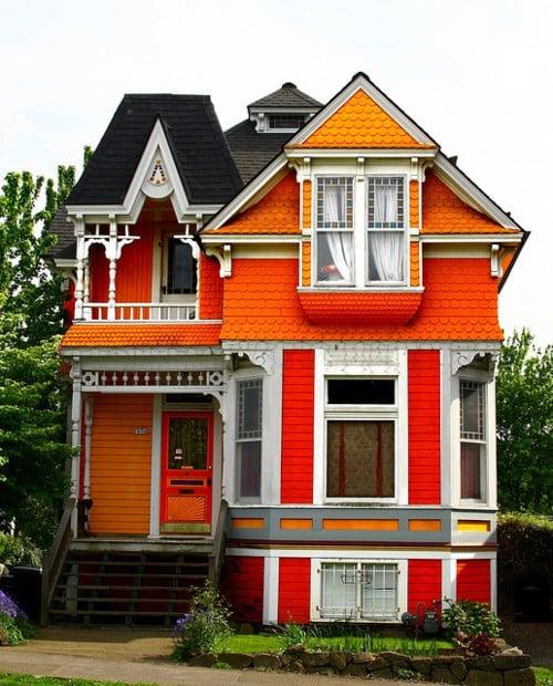 Beautiful orange Victorian house