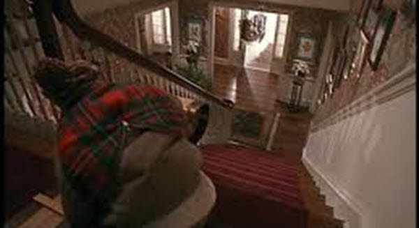 Sliding down the stairs - Home Alone